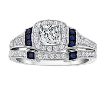 14KW 1.10CTW PRN CTR WITH SAPPHIRE BRIDAL SET