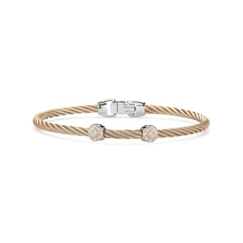 Carnation Cable Essential Stackable Bracelet with Double Round Diamond station set in 18kt Rose Gold