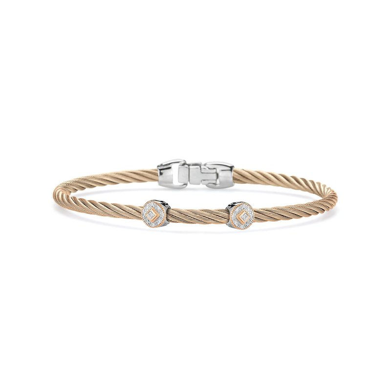 ALOR Carnation Cable Essential Stackable Bracelet with Double Round Diamond station set in 18kt Rose Gold
