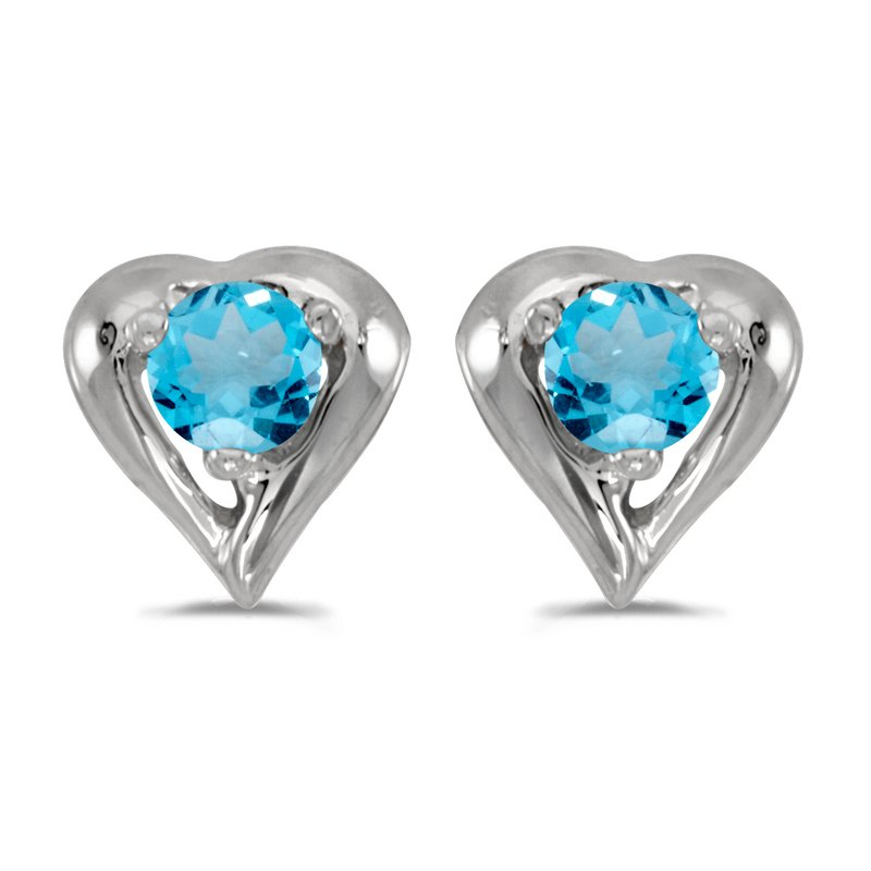 Color Merchants 10k White Gold Round Blue Topaz Heart Earrings