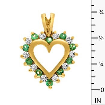 14k Yellow Gold Emerald and Diamond Heart Shaped Pendant