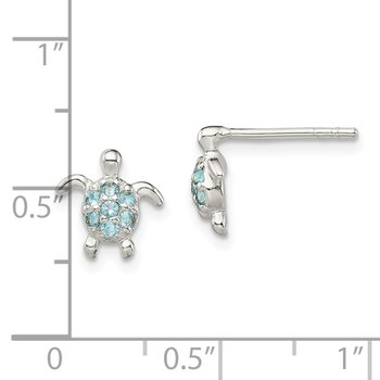 Sterling Silver CZ Turtle Post Earrings