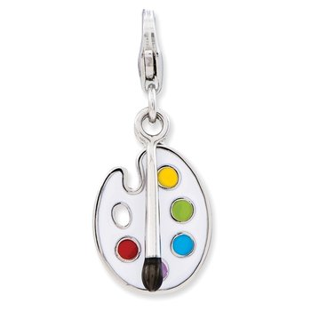 Sterling Silver Enameled 3-D Palette and Brush w/Lobster Clasp Charm