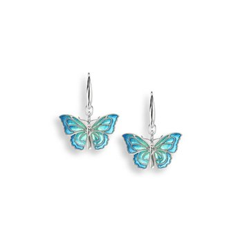 Blue Butterfly Wire Earrings.Sterling Silver - Plique-a-Jour
