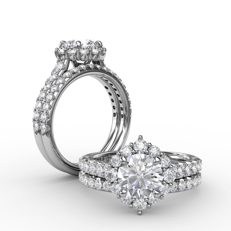 Fana Angled Cushion-Shaped Diamond Halo Engagement Ring With Diamond Band