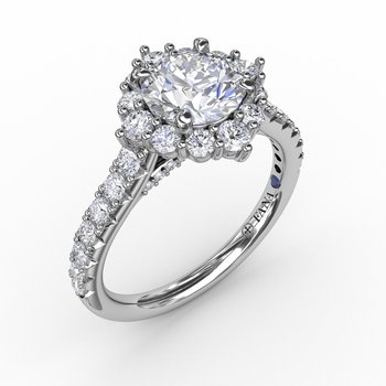 Angled Cushion-Shaped Diamond Halo Engagement Ring With Diamond Band