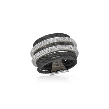 Black 7 Row Cable Ring with Dual Rows of 18kt White Gold & Diamonds