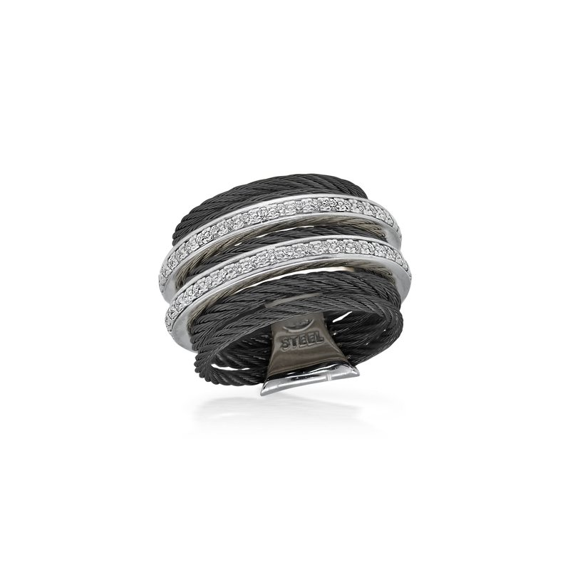 ALOR Black 7 Row Cable Ring with Dual Rows of 18kt White Gold & Diamonds