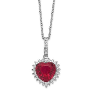Cheryl M Sterling Silver Heart 100-facet Lab created Ruby/CZ 18in Necklace
