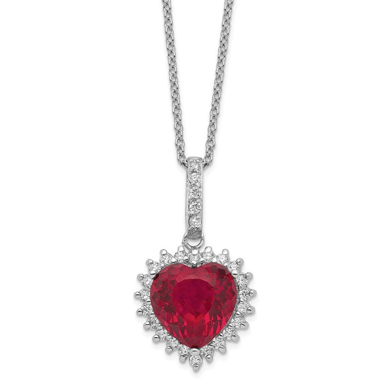 Cheryl M Cheryl M Sterling Silver Heart 100-facet Lab created Ruby/CZ 18in Necklace