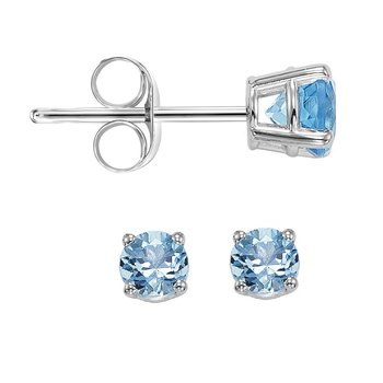 14K Blue Topaz Studs 3 mm Rd