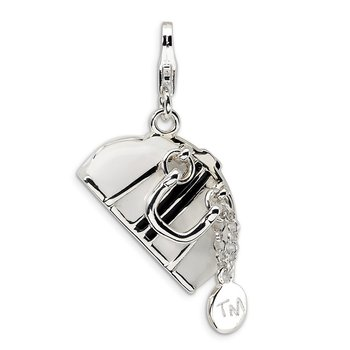 Sterling Silver 3-D Enameled Purse w/Lobster Clasp Charm