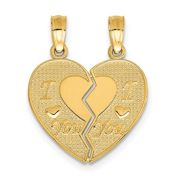 14k I LOVE YOU Break Apart Heart Charm
