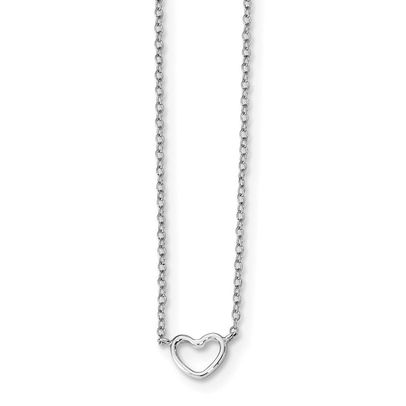 Quality Gold Sterling Silver Rhodium-plated 18in Heart Necklace