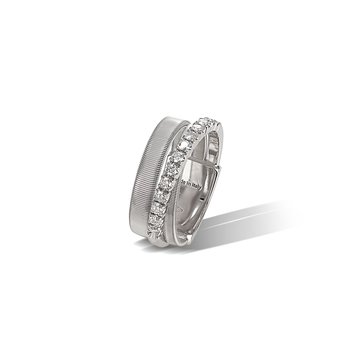 Masai Three Strand White Gold and Diamond Ring