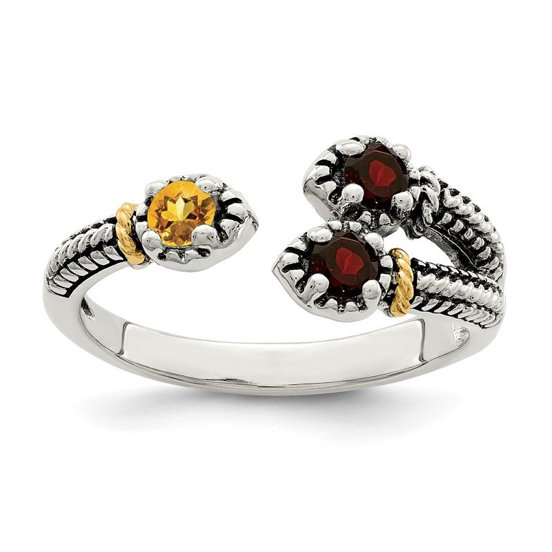 Sterling Silver w/ 14K Accent Garnet & Citrine Ring