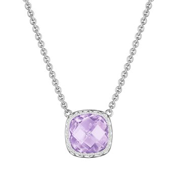 Cushion Gem Necklace with Rose Amethyst