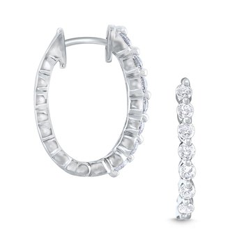 14k Gold and Diamond Oval Hoop Earrings