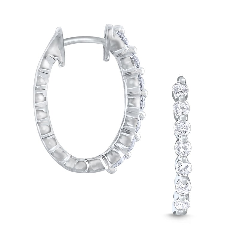 KC Designs 14k Gold and Diamond Oval Hoop Earrings