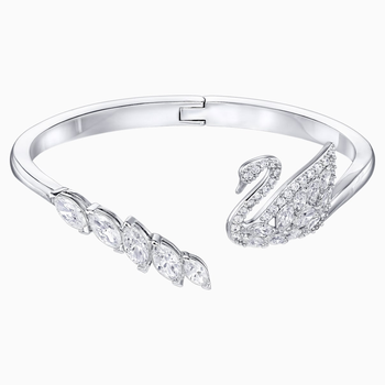 Swan Lake Bangle, White, Rhodium plated