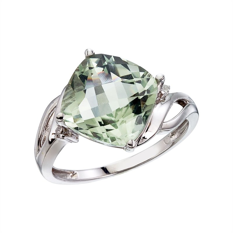 Color Merchants 14K White Gold Green Amethyst and Diamond Cushion Ring