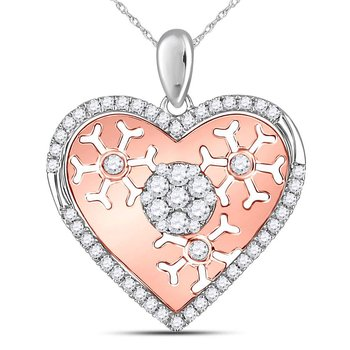 14kt Two-tone Gold Womens Round Diamond Heart Cluster Burst Pendant 1/2 Cttw