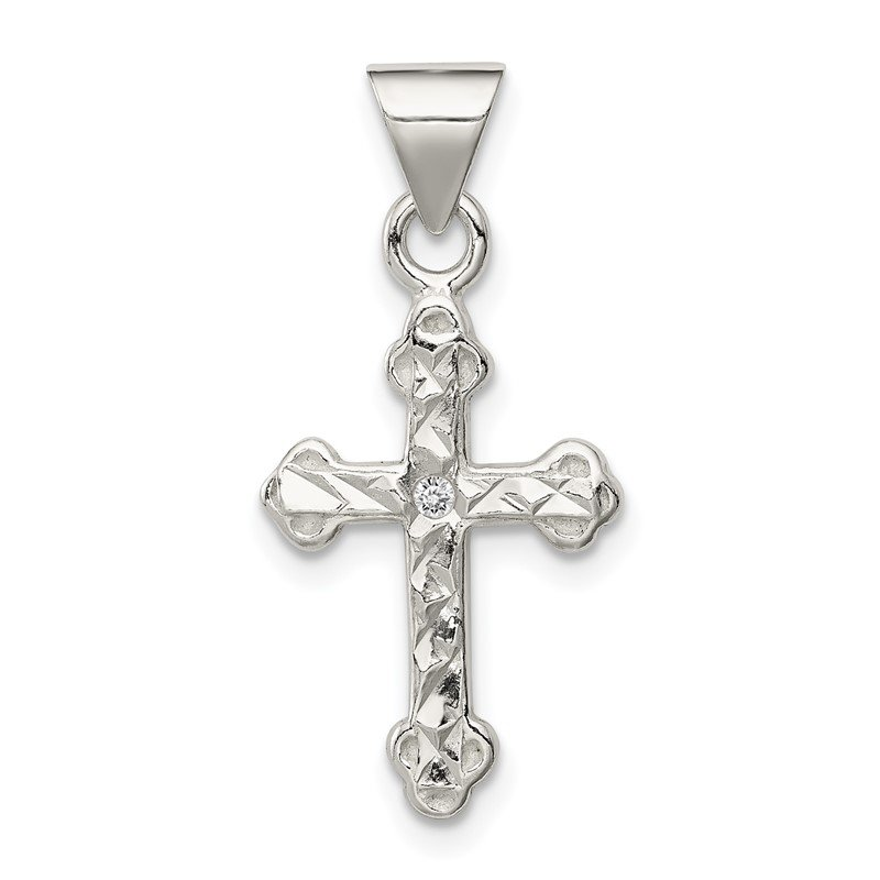Quality Gold Sterling Silver Cross with CZ Pendant