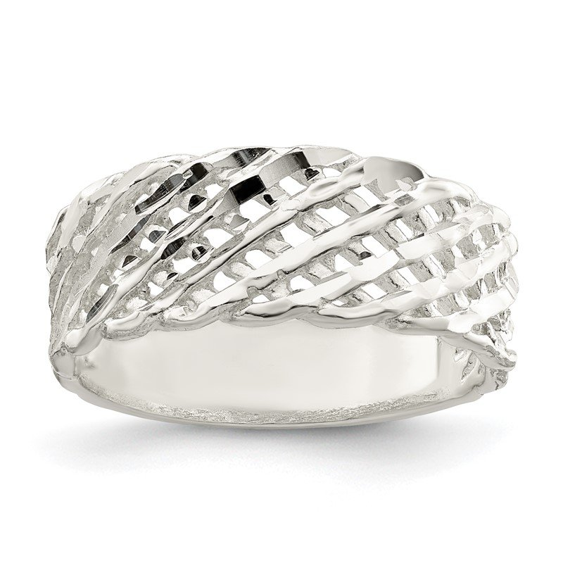 Quality Gold Sterling Silver Diamond-cut Ring