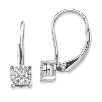 14k White Gold Diamond Cluster Leverback Earrings