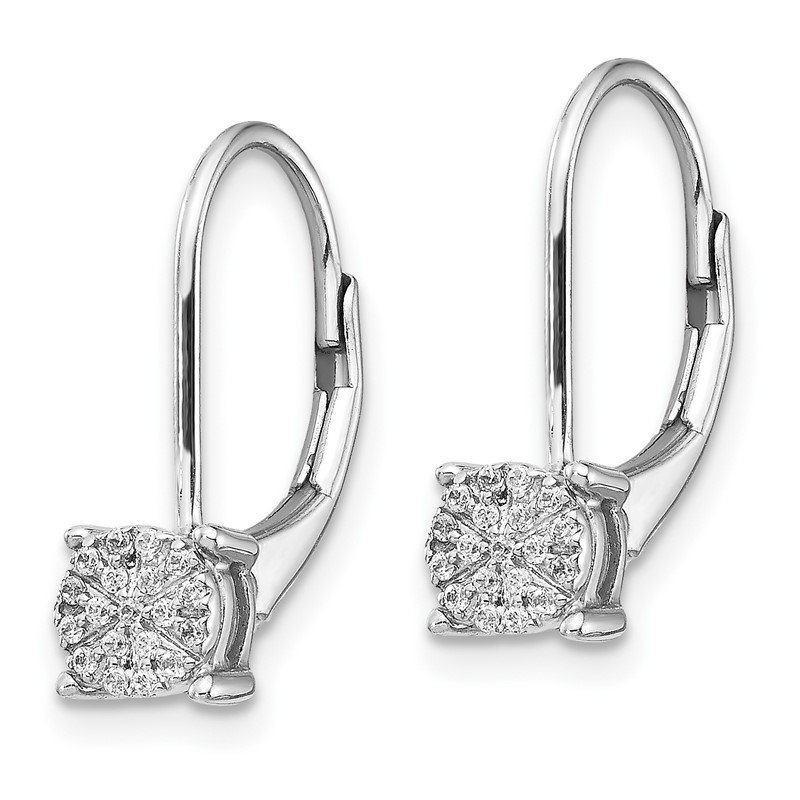 Quality Gold 14k White Gold Diamond Cluster Leverback Earrings