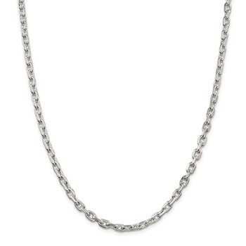 Sterling Silver 4.9mm Beveled Oval Cable Chain
