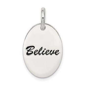 Sterling Silver Polished Enamel Believe Pendant