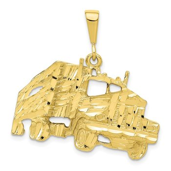 10k Solid Diamond-cut Semi with Trailer Charm