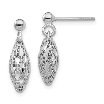 Sterling Silver Rhodium-plated D/C Mesh Oval Dangle Post Earrings