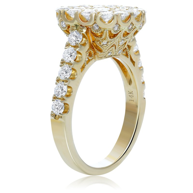 Roman & Jules Yellow Gold & Diamond Cluster Ring