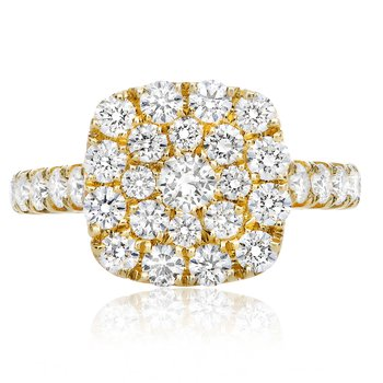 Yellow Gold & Diamond Cluster Ring