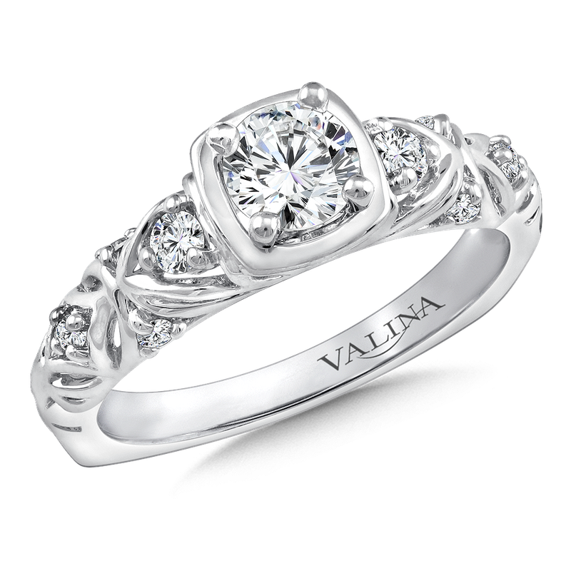 Valina Diamond Engagement Ring Mounting in 14K White Gold (.16 ct. tw.)