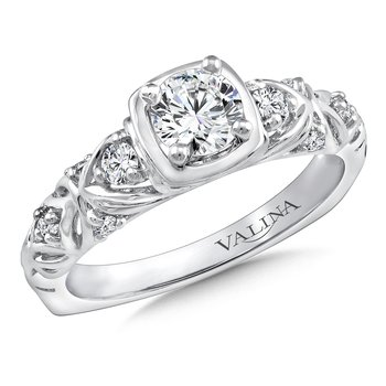 Diamond Engagement Ring Mounting in 14K White Gold (.16 ct. tw.)