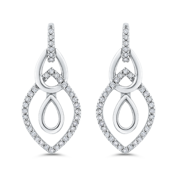 10K White Gold 1/4 Ct Diamond Fashion Earrings
