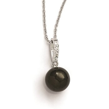 Sterling Silver Majestik Rh-pl 10-11mm Blk Imitat Shell Pearl & CZ Necklace