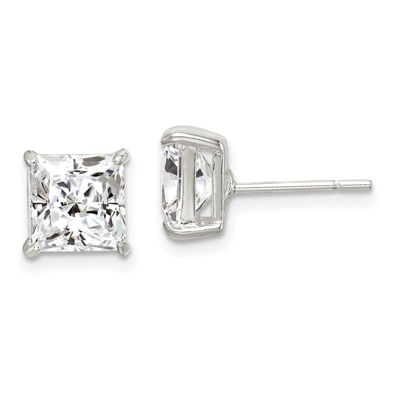 Quality Gold Sterling Silver 7mm Square CZ Basket Set Stud Earrings