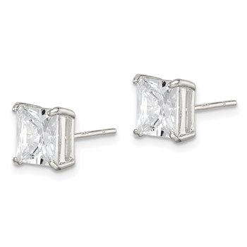 Sterling Silver 7mm Square CZ Basket Set Stud Earrings