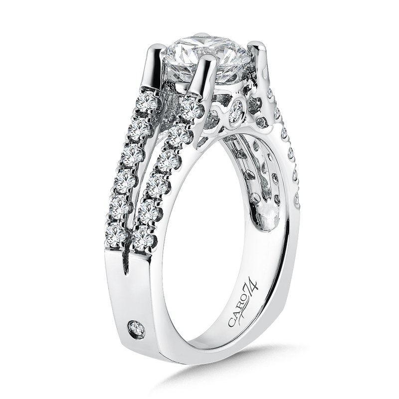 Caro74 Classic Elegance Collection Diamond Split Shank Engagement Ring in 14K White Gold (1-1/2ct. tw.)