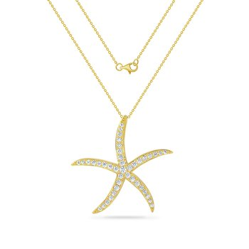 14K multi starfish necklace with 41 diamonds , 0.98ct  on a 18 inch chain