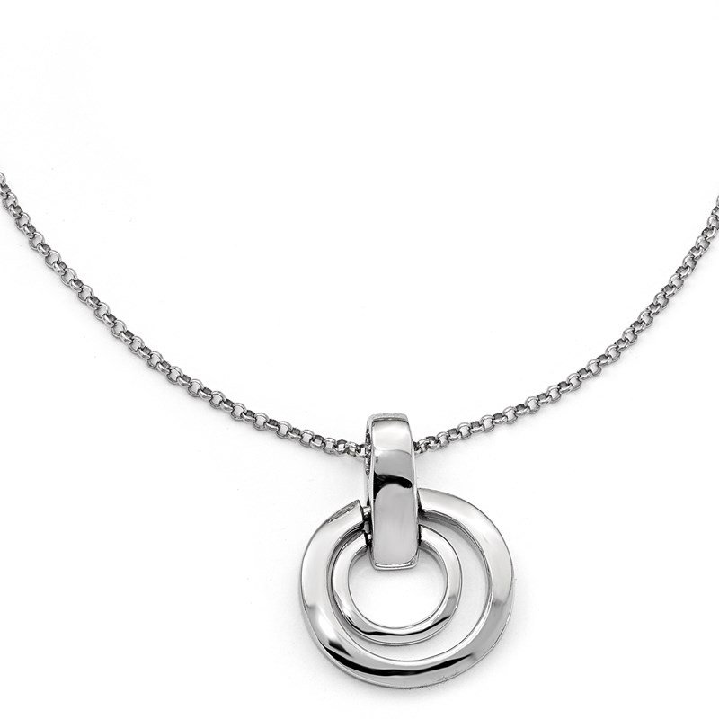 Leslie's Leslie's Sterling Silver Polished Circles w/1in ext. Necklace