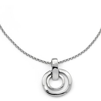 Leslie's Sterling Silver Polished Circles w/1in ext. Necklace