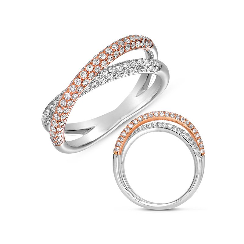 S. Kashi  & Sons Rose & White Gold Pave Band