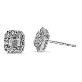14K WG and diamond Emerald shape halo Ear Studs in invisible and prong setting 1/3 ct