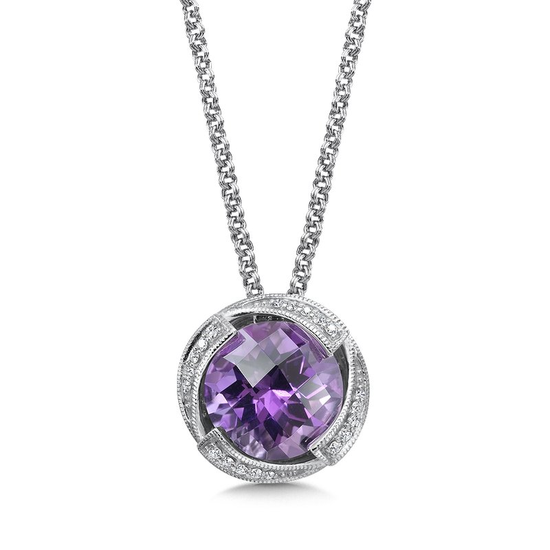 Amethyst and Diamond Pendant in Sterling Silver.