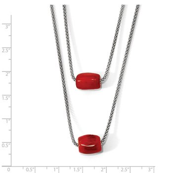Leslie's Sterling Silver Polished Double-strand Red Tiger Stone Necklace